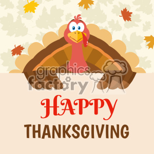 Happy Thanksgiving Turkey Bird Cartoon Mascot Character Holding A Happy Thanksgiving Sign Vector Flat Design Over Background With Autumn Leaves