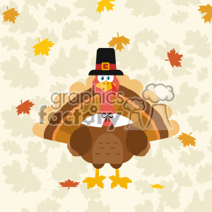 Thanksgiving Turkey Bird Wearing A Pilgrim Hat Vector Flat Design Over Background With Autumn Leaves clipart. Commercial use image # 402752