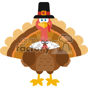 Thanksgiving Turkey Bird Wearing A Pilgrim Hat Vector Flat Design clipart. Royalty-free image # 402757