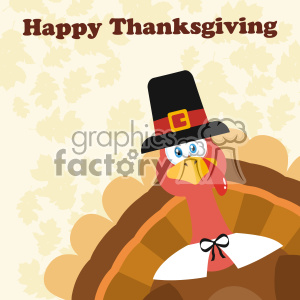 Pilgrim Turkey Bird Cartoon Mascot Character Peeking From A Corner Vector Flat Design Over Background With Autumn Leaves And Text Happy Thanksgiving clipart. Royalty-free image # 402762