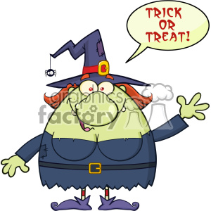 Ugly Witch Cartoon Mascot Character Waving With Speech Bubble And Text Trick Or Treat Vector clipart. Commercial use image # 402767