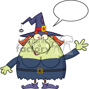 Ugly Witch Cartoon Mascot Character Waving With Blank Speech Bubble Vector clipart. Commercial use image # 402772