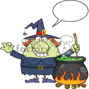 Ugly Halloween Witch Cartoon Mascot Character Preparing A Potion In A Cauldron With Blank Speech Bubble Vector