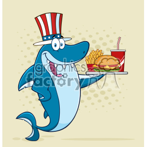 American Blue Shark Cartoon With Patriotic Hat Holding A Platter With Burger French Fries And A Soda Vector With Halftone Background