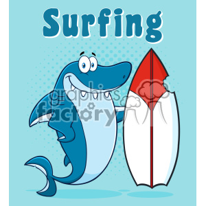 Clipart Smiling Blue Shark Cartoon With Surfboard Vector With Blue Halftone Background And Text Surfing clipart. Commercial use image # 402787
