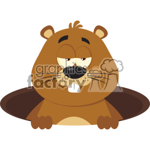 Cute Marmot Cartoon Character Emerging From A Hole Vector Flat Design clipart. Commercial use image # 402797