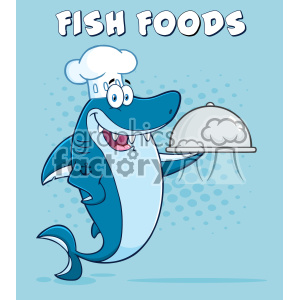 Chef Blue Shark Cartoon Holding A Platter Vector With Blue Halftone Background And Text Fish Foods