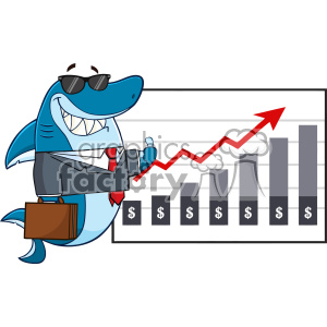 Smiling Business Shark Cartoon Holding A Thumb Up To A Presentation Board With A Growth Chart Vector clipart. Commercial use image # 402819