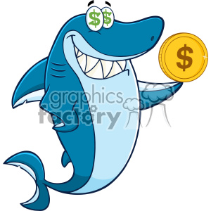 Clipart Greedy Blue Shark Cartoon Holding A Goden Dollar Coin Vector clipart. Royalty-free image # 402824