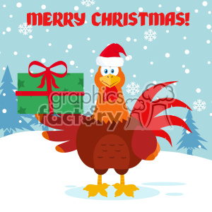 Cute Red Rooster Bird Cartoon Holding Gifts Vector Flat Design With Snow Background And Text Merry Christmas clipart. Commercial use image # 402829