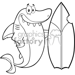 Black And White Smiling Shark Cartoon With Surfboard Vector Vector clipart. Commercial use image # 402839