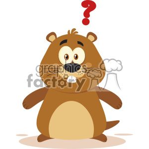 Cute Marmot Cartoon Character With Question Mark Vector Flat Design clipart. Commercial use image # 402849