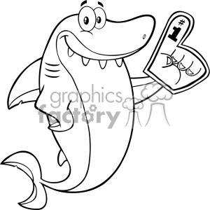 Clipart Black And White Cute Shark Cartoon Wearing A Foam Finger Vector clipart. Royalty-free image # 402854