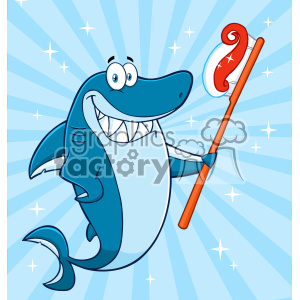 Clipart Smiling Blue Shark Cartoon Holding A Toothbrush With Paste Vector With Blue Sunburs Background clipart. Commercial use image # 402864
