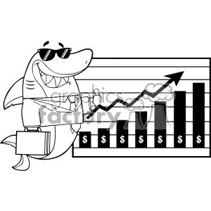 Black And White Smiling Business Shark Cartoon Holding A Thumb Up To A Presentation Board With A Growth Chart Vector Illustration clipart. Commercial use image # 402869