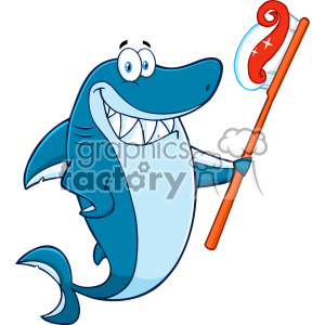Clipart Smiling Blue Shark Cartoon Holding A Toothbrush With Paste Vector