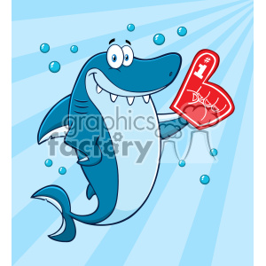 Clipart Cute Blue Shark Cartoon Wearing A Foam Finger Vector With Blue Sunburs Background clipart. Royalty-free image # 402893