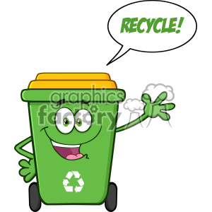 Happy Green Recycle Bin Cartoon Mascot Character Waving For Greeting With Speech Bubble And Text Recycle Vector