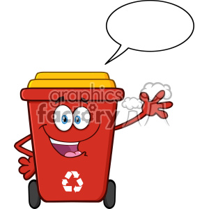 Happy Red Recycle Bin Cartoon Mascot Character Waving For Greeting With Speech Bubble Vector