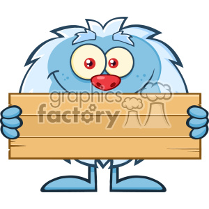 Cute Little Yeti Cartoon Mascot Character Holding Wooden Blank Sign Vector clipart. Royalty-free image # 402923