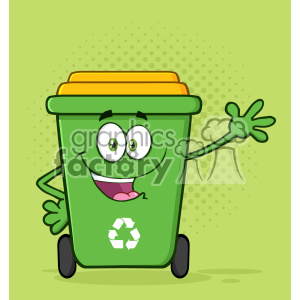 Happy Green Recycle Bin Cartoon Mascot Character Waving For Greeting Vector With Green Halftone Background clipart. Royalty-free image # 402928