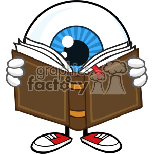 Blue Eyeball Guy Cartoon Mascot Character Reading A Book Vector clipart. Commercial use image # 402938
