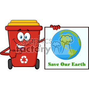 Cute Red Recycle Bin Cartoon Mascot Character Holding A Save Our Earth Sign Vector clipart. Commercial use image # 402943