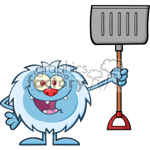 Happy Little Yeti Cartoon Mascot Character Holding Up A Winter Shovel Vector