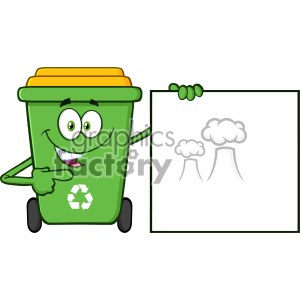 Talking Green Recycle Bin Cartoon Mascot Character Pointing To A Blank Sign Banner Vector clipart. Royalty-free image # 402953