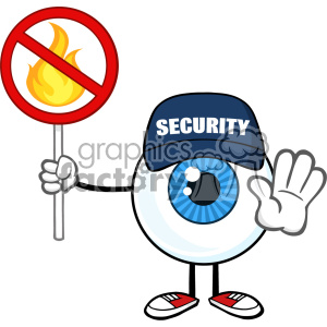 Blue Eyeball Cartoon Mascot Character Security Guard Gesturing Stop And Holding A Fire Sign Vector clipart. Royalty-free image # 402963