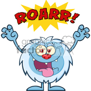Scary Yeti Cartoon Mascot Character With Angry Roar Sound Effect Text Vector clipart. Royalty-free image # 402973