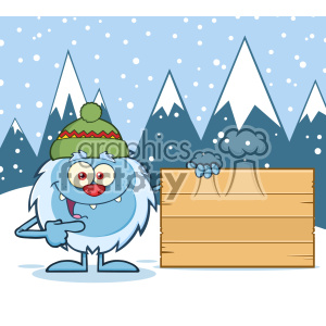 Cute Little Yeti Cartoon Mascot Character With Hat Pointing To A Wooden Blank Sign Vector With Winter Background clipart. Royalty-free image # 402978