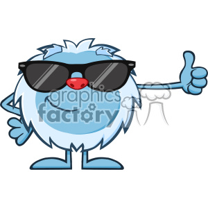 Cute Little Yeti Cartoon Mascot Character With Sunglasses Holding A Thumb Up Vector clipart. Commercial use image # 402983