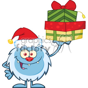 Smiling Little Yeti Cartoon Mascot Character With Santa Hat Holding Up A Gifts Vector
