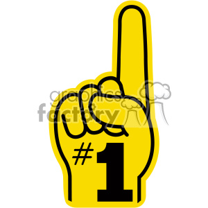 yellow number one hand vector clip art clipart. Commercial use image # 403105