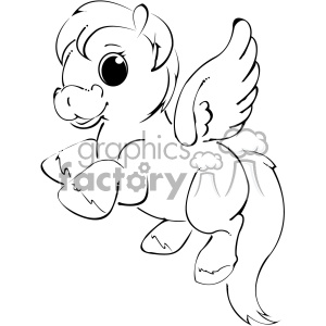 black white cartoon unicorn vector clip art
