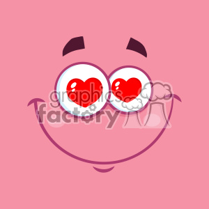 10870 Royalty Free RF Clipart Smiling Love Cartoon Funny Face With Hearts Eyes And Expression Vector With Pink Background
