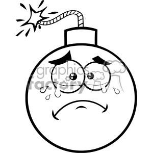 10825 Royalty Free RF Clipart Black And White Crying Bomb Face Cartoon Mascot Character With Tears Vector Illustration