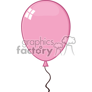 10759 Royalty Free RF Clipart Cartoon Pink Balloon Vector Illustration