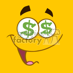 10890 Royalty Free RF Clipart Cartoon Square Emoticons With Dollar Eyes And Smiling Expression Vector With Yellow Background