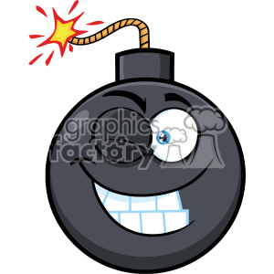 10818 Royalty Free RF Clipart Winking Bomb Face Cartoon Mascot Character With Expressions Vector Illustration clipart. Royalty-free image # 403665