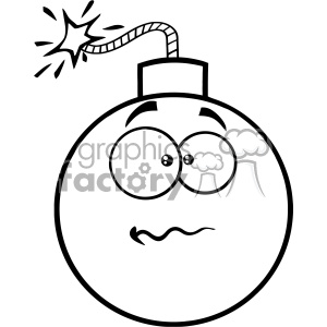 10829 Royalty Free RF Clipart Black And White Nervous Bomb Face Cartoon Mascot Character With Expressions Vector Illustration