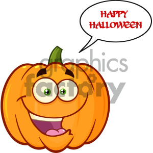 Happy Orange Pumpkin Vegetables Cartoon Emoji Face Character With Expression With Speech Bubble And Text Happy Halloween clipart. Royalty-free image # 403957