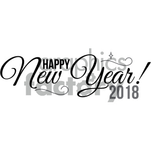 happy new year 2018 v3 clipart. Commercial use image # 404020