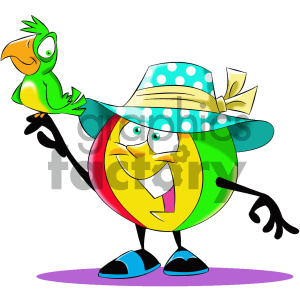 cartoon beach ball character with a bird clipart. Commercial use image # 404205