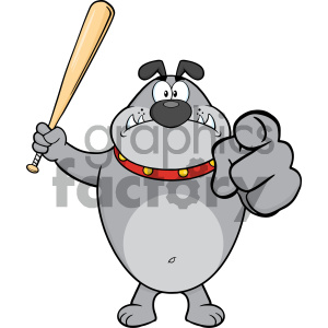 Royalty Free RF Clipart Illustration Angry Gray Bulldog Cartoon Mascot Character Holding A Bat And Pointing Vector Illustration Isolated On White Background clipart. Royalty-free image # 404222