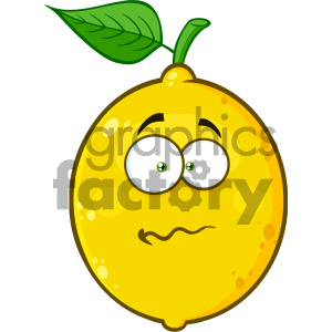 cartoon food mascot character vector happy fruit lemon confused