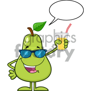 cartoon food mascot character vector pear happy fun drinking holding summer