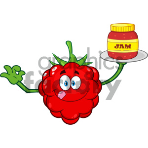 Royalty Free RF Clipart Illustration Raspberry Fruit Cartoon Mascot Character With Gesturing Ok And Serving Jam Vector Illustration Isolated On White Background clipart. Royalty-free image # 404339