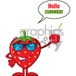 Smiling Strawberry Fruit Cartoon Mascot Character With Sunglasses Holding Up A Glass Of Juice With Speech Bubble And Text Hello Summer clipart. Commercial use image # 404349